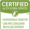 Certified by SCS Global Services to be 20% pre-consumer recycled content